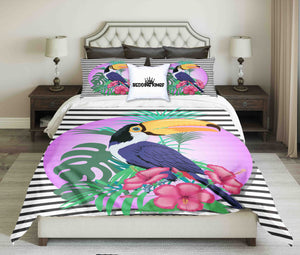 Colourful Pelican On Stripped Backround Bedding Set | beddingkings