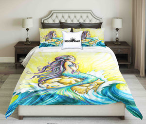 Beautiful Mermaid On the Wave Design Bedding Set | beddingkings