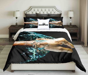 Fist Against Water On Black Background Bedding Set Set | beddingkings