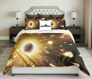 Baseball In Golden Sparks Design Bedding Set | beddingkings