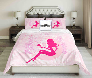 Bright Pink Fairy On Baby Pink Background Bedding Set | beddingkings