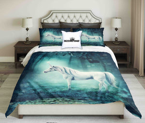 Unicorn On Moonlight In Forest  Bedding Set | beddingkings