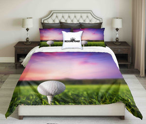 Golf Ball On Evening Sky Background Design Bedding Set | beddingkings