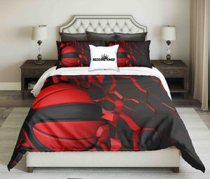 Red-Black Basketball On Cracked Wall Design Bedding Set | beddingkings