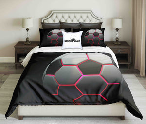 Illuminated Red Light Football On Black Background  Bedding Set | beddingkings