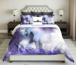 Majestic Unicorn With Three Little Fairies Design Bedding Set | beddingkings