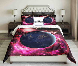 View Of The Planet Earth From Space Design bedding Set | beddingkings