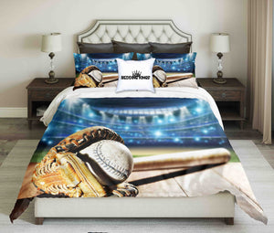 Baseball Tools on Blue Lighting Design Bedding Set | beddingkings