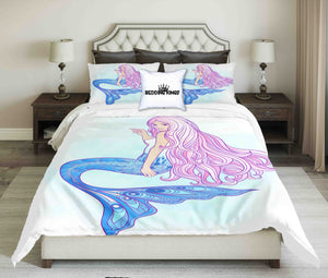 Pink Haired Bluish Mermaid Design Bedding Set | beddingkings