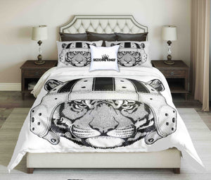 Wild Tiger Wearing Rugby Helmet Black White Design Bedding Set | beddingkings