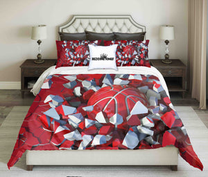 Red-White Basketball on Cracked Wall Design Bedding Set | beddingkings