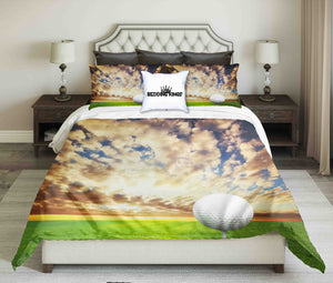 Golf Ball On Evening Cloudy Sky Background Design Bedding Set | beddingkings