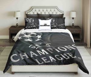 Championships League Design On Grey Background Bedding Set | beddingkings