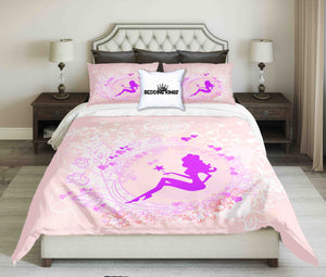 Purple Fairy On Baby Pink Background Design Bedding Set | beddingkings