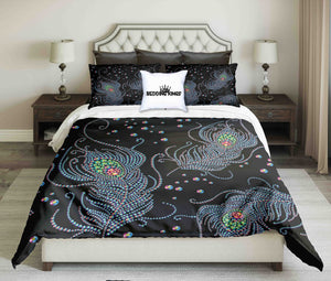 Luxury Feathers On Black Background Design Bedding Set | beddingkings