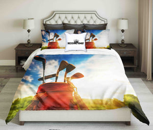 Golf Tools On Sky Background Design Bedding Set | beddingkings