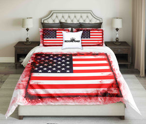 USA Red Framed Flag Design Bedding Set | beddingkings