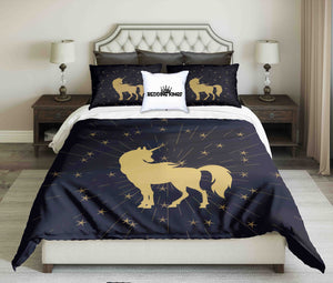 Golden Unicorn On Black Background Bedding Set | beddingkings