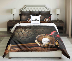 Baseball Tools On Brick Wall Background Design Bedding Set | beddingkings
