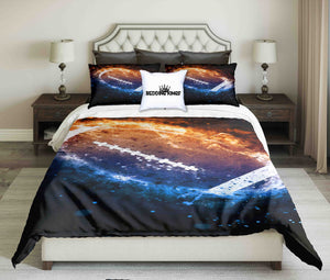 American Football Ball On Fire On Dark Background Bedding Set | beddingkings
