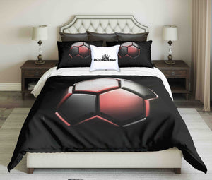 Red-Black Football On Black Background Design Bedding Set | beddingkings