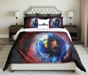 Planet Earth Globe 3D Illustration Design Bedding Set | beddingkings