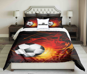 Football On Abstract Fire on Black Background Bedding Set | beddingkings