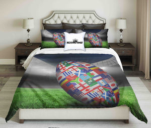Rugby World Cup International Ball In Stadium Design Bedding Set | beddingkings
