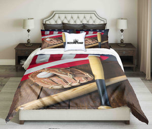 Baseball Tools On Usa Flag Background Design Bedding Set | beddingkings