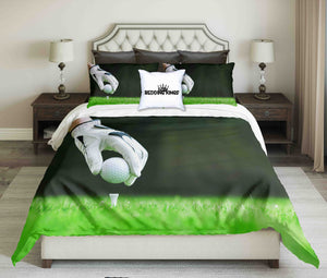 Golf Player Placing Ball on Greenish Background Bedding Set | beddingkings