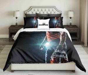 American Footballer On Night Lighting Bedding Set | beddingkings