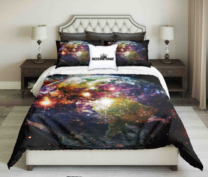 Planet Earth And Galaxy Design Bedding Set | beddingkings