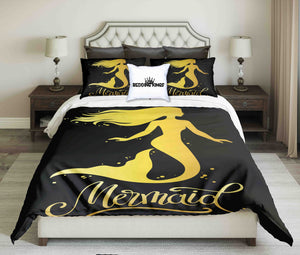 Golden Mermaid On Black Background Bedding Set | beddingkings