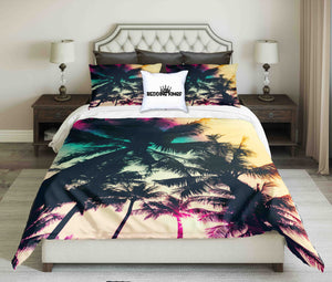 Palms In Sunset Design bedding Set | beddingkings