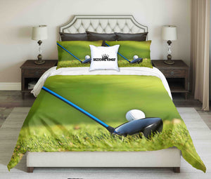 Golf Tools On Grass Background Design Bedding Set | beddingkings