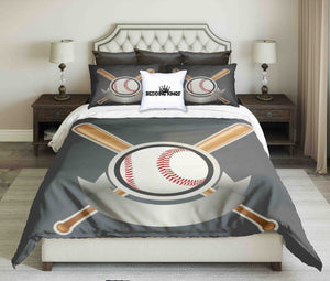 Baseball Design On Light Grey Background Bedding Set | beddingkings