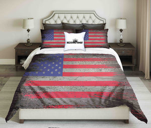 USA Flag On Metal Texture Design Bedding Set | beddingkings