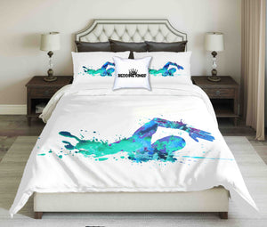 Green-Blue Abstract Swimmer On White Background Bedding Set | beddingkings