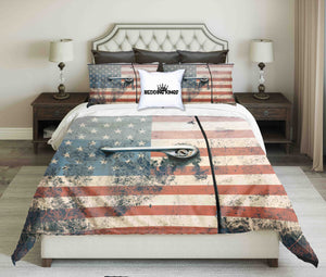 Usa Flag on Vintage Car Door Retro Design Bedding Set | beddingkings