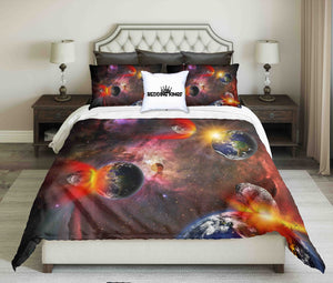 Attack Of The Asteroid On The Earth Design Bedding Set | beddingkings