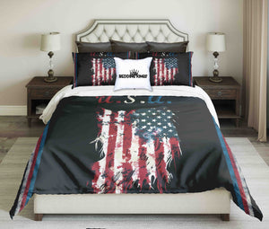 USA Flag On Black Bacground Design Bedding Set | beddingkings