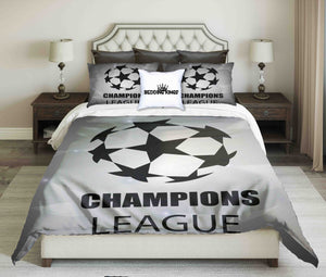 Championship League Design On Light Grey Background Bedding Set | beddingkings