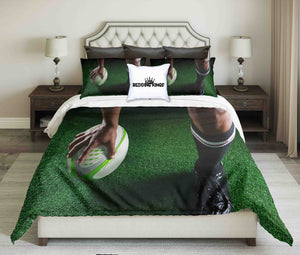 Rugby Player Design On Grass Background Bedding Set | beddingkings