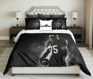 American Footballer On Black Background Bedding Set | beddingkings