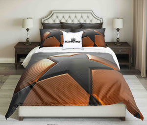 Orange-Grey Basketball On Light Grey Background  Design Bedding Set | beddingkings