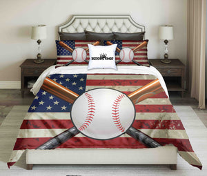 Baseball Design On USA Flag  Bedding Set | beddingkings