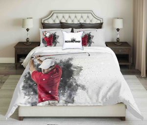 Red T-Shirt Golf Player On Greyish Background Design Bedding Set | beddingkings
