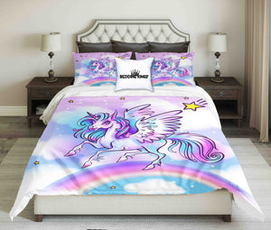 Colourful Unicorn On Rainbow Design Bedding Set | beddingkings