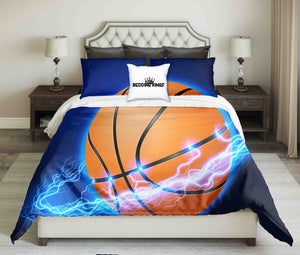 Lighting Surounded Basketball On Blue Background Bedding Set | beddingkings