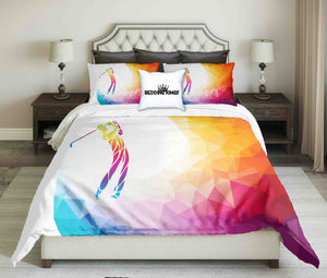 Abstract Colourful Golf Player Design Bedding Set | beddingkings